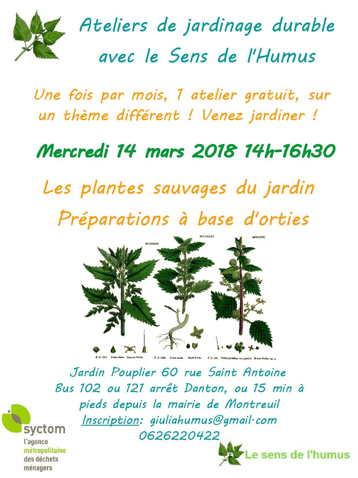 Atelier du 14 mars au jardin pouplier l ortie l honneur for Atelier du jardin d acclimatation